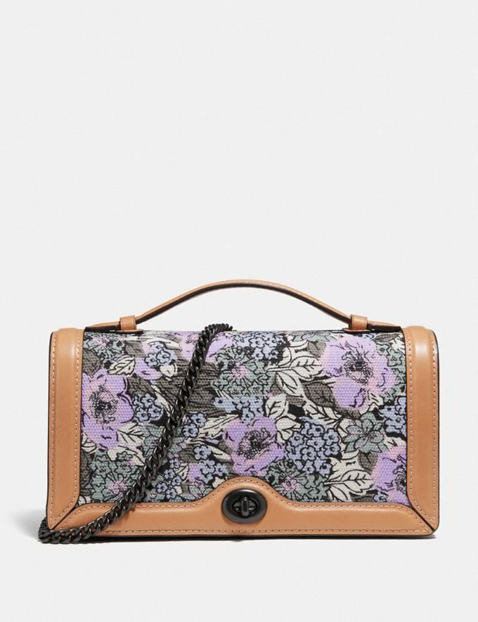Coach Riley Chain Clutch With Heritage Floral Print Pewter/Soft Lilac Multi