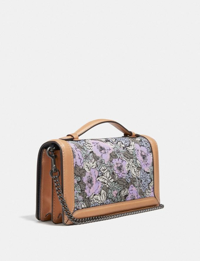 Coach Riley Chain Clutch With Heritage Floral Print Pewter/Soft Lilac Multi  Alternate View 1