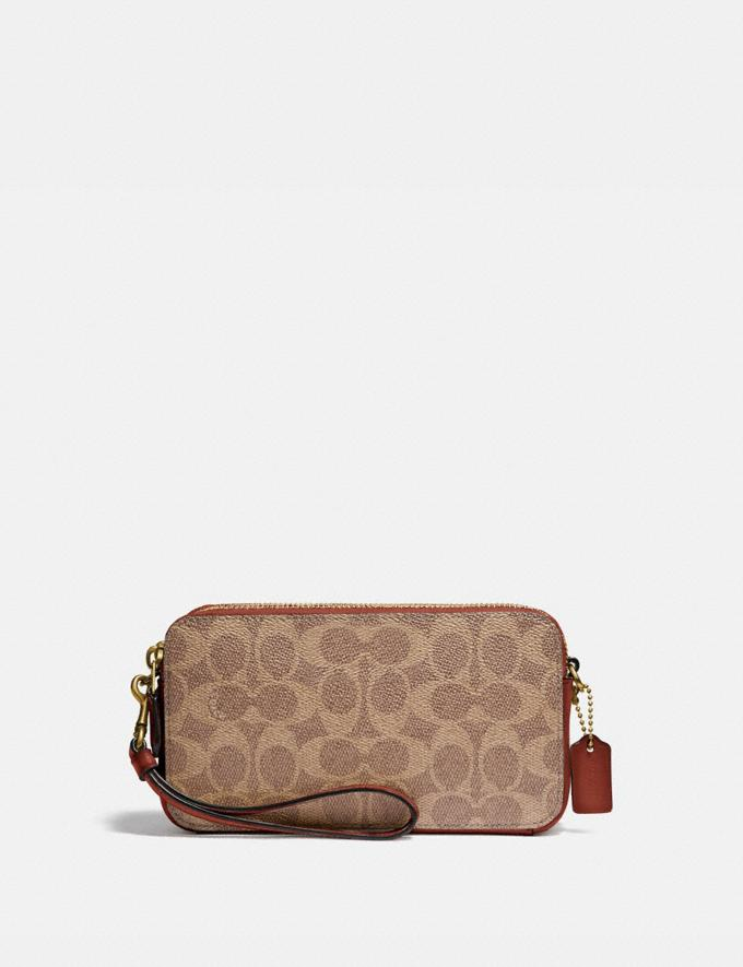 Coach Kira Crossbody in Colorblock Signature Canvas B4/Tan Chalk Women Small Leather Goods Crossbody Wallets