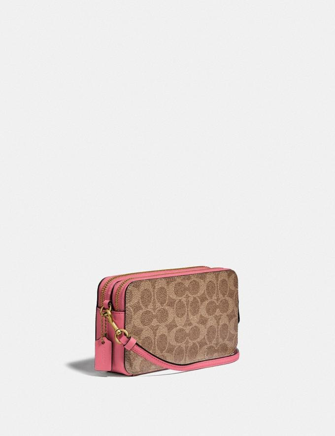 Coach Kira Crossbody in Colorblock Signature Canvas B4/Tan Rouge New Women's New Arrivals Small Leather Goods Alternate View 1