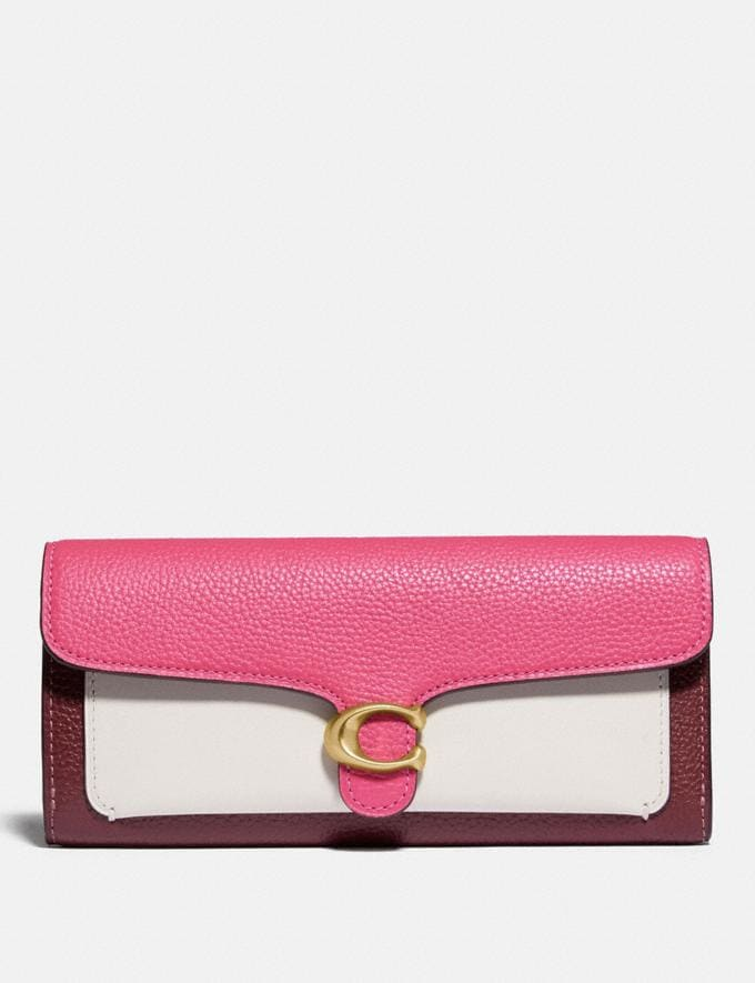 Coach Tabby Long Wallet in Colorblock B4/Confetti Pink Multi Women Small Leather Goods Large Wallets