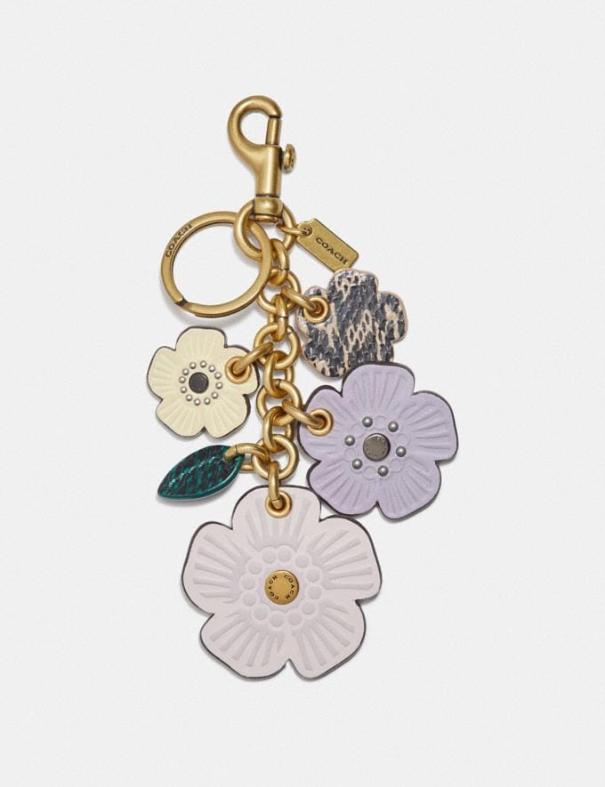 Coach Tea Rose Mix Bag Charm With Snakeskin Detail Brass/Seashell Snake Multi Women Accessories Bag Charms & Key Rings