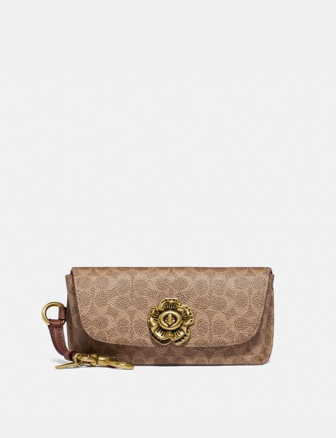 Coach Sunglass Case Bag Charm in Signature Canvas B4/Tan Rust New Featured Signature Styles