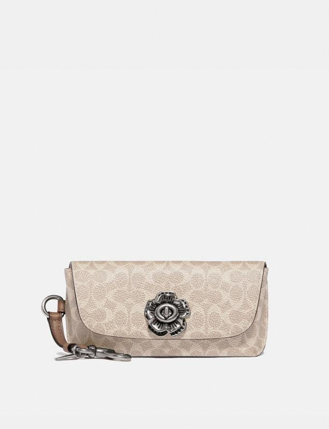 Coach Sunglass Case Bag Charm in Signature Canvas Nickel/Sand/Taupe Women Accessories Bag Accessories & Keyholders