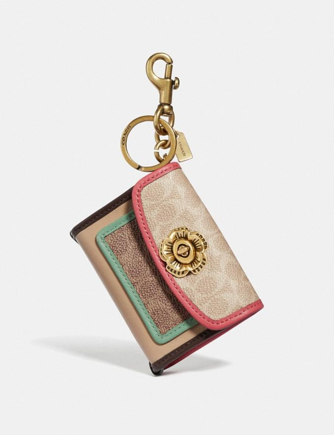 Coach Parker Bag Charm in Colorblock Signature Canvas Brass/Sand Tan Multi Women Accessories Bag Accessories & Keyholders