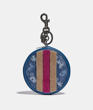 COIN PURSE BAG CHARM WITH HORSE AND CARRIAGE PRINT AND VARSITY STRIPE