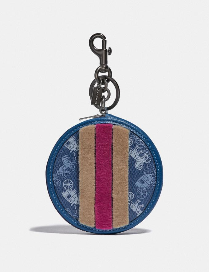 Coach Coin Case Bag Charm With Horse and Carriage Print and Varsity Stripe Pewter/True Blue Women Accessories Bag Accessories & Keyholders