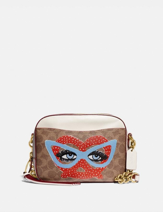 Coach Camera Bag in Signature Canvas by Kendra Dandy Tan Chalk New Featured Artist Editions