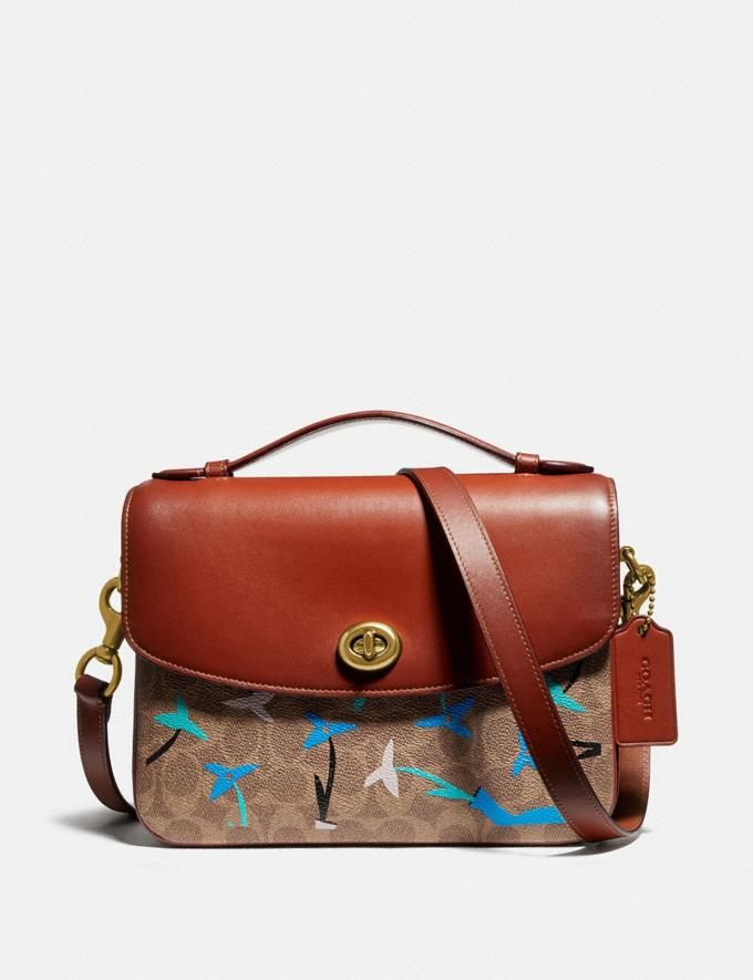 Coach Cassie Crossbody in Signature Canvas Blocking by We Are Out of Office Tan Rust Women Bags Crossbody Bags