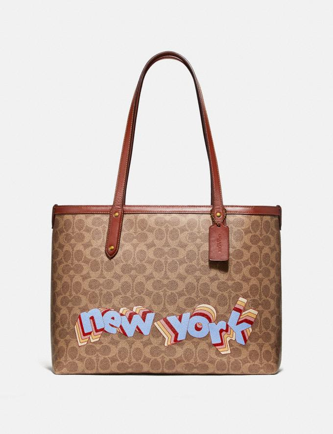 Coach Central Tote With Zip in Signature Canvas by Tyler Spangler Tan Rust Women Bags Totes