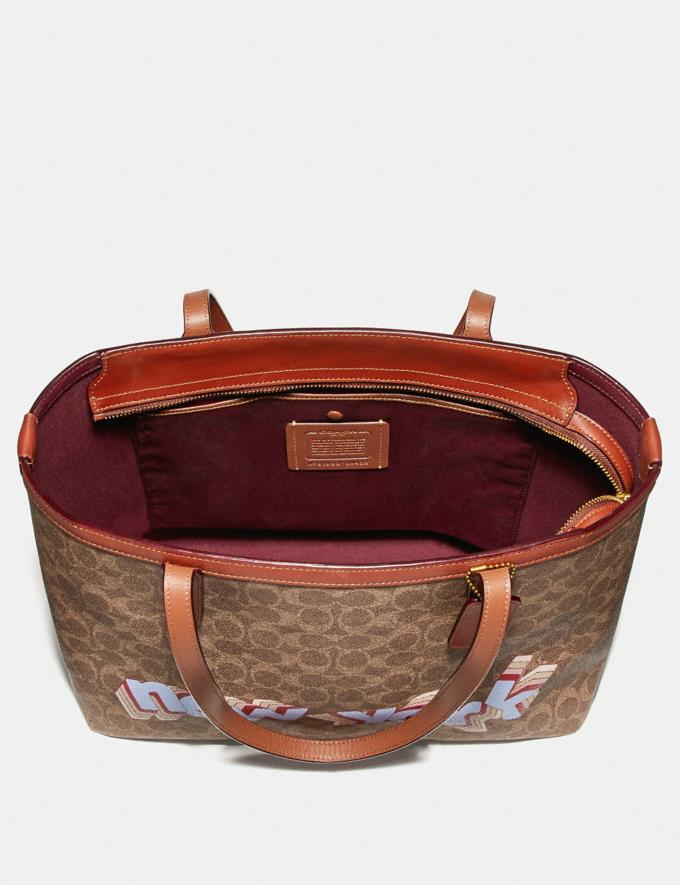 Coach Central Tote With Zip in Signature Canvas by Tyler Spangler Tan Rust Women Bags Totes Alternate View 3