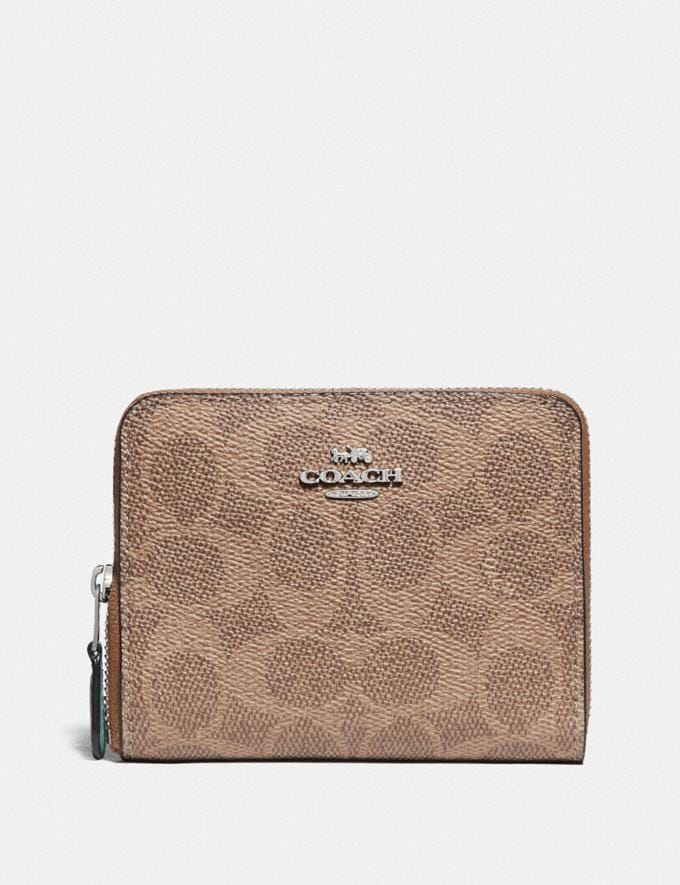 Coach Small Zip Around Wallet in Blocked Signature Canvas Lh/Tan Sand Orchid New Women's New Arrivals