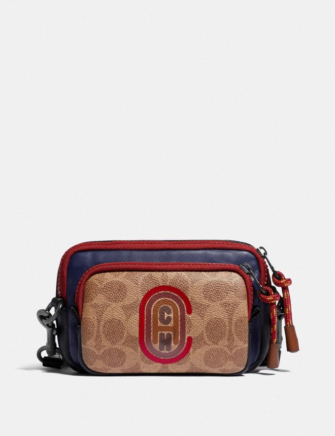 Coach Pacer Convertible Double Pouch in Colorblock Signature Canvas With Coach Patch True Navy Multi Men Accessories Tech & Travel