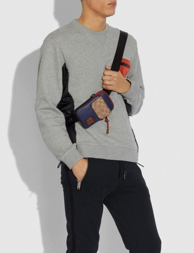 Coach Pacer Convertible Pouch in Colorblock Signature Canvas With Coach Patch True Navy Multi Men Edits Travel Alternate View 2
