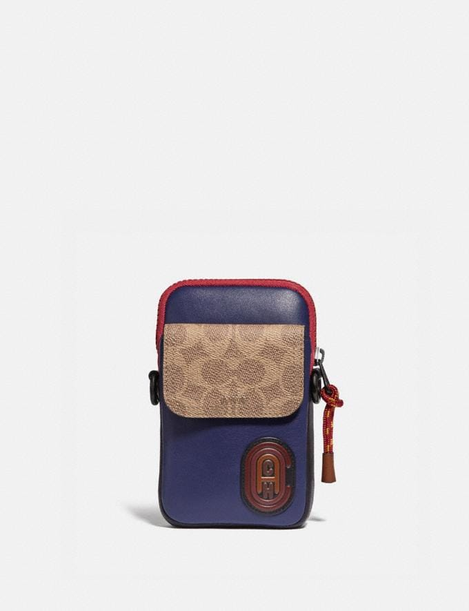 Coach Pacer Convertible Pouch in Colorblock Signature Canvas With Coach Patch True Navy Multi Men Edits Travel