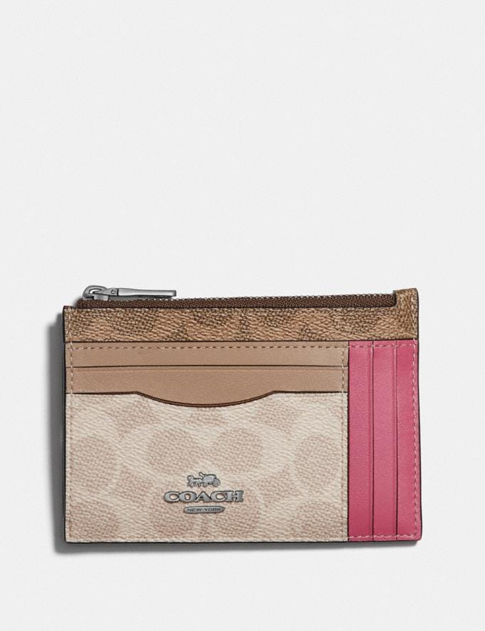 Coach Large Card Case in Blocked Signature Canvas Light Nickel/Tan Sand Orchid Women Wallets & Wristlets Card Cases
