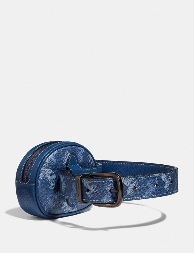 Coach Harness Buckle Reversible Belt and Pouch With Horse and Carriage Print, 25mm Gm/Blue  Alternate View 1