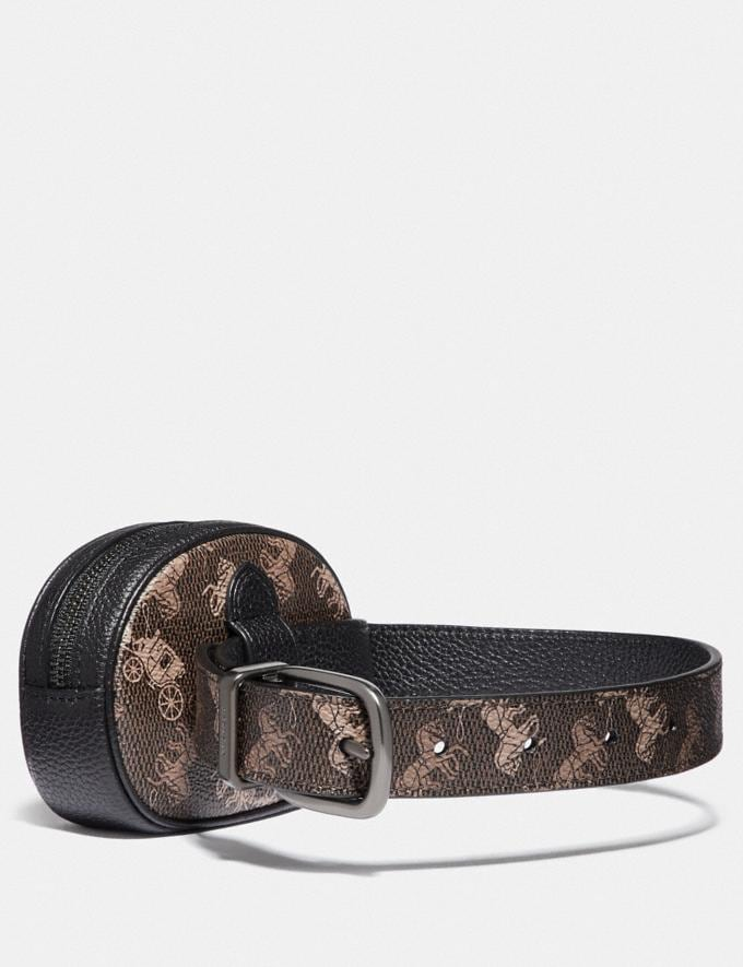 Coach Harness Buckle Reversible Belt and Pouch With Horse and Carriage Print, 25mm Gunmetal/Brown  Alternate View 1