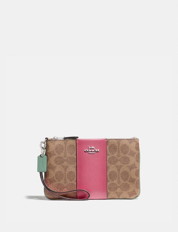 Coach Small Wristlet in Blocked Signature Canvas Lh/Tan Sand Orchid Women Small Leather Goods Wristlets