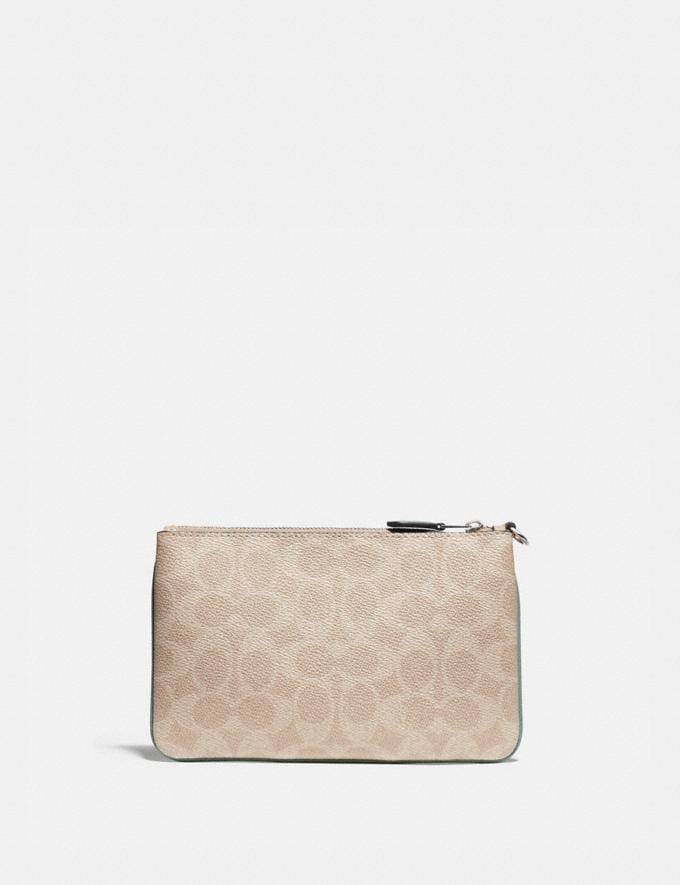 Coach Small Wristlet in Blocked Signature Canvas Lh/Tan Sand Orchid Women Small Leather Goods Wristlets Alternate View 1