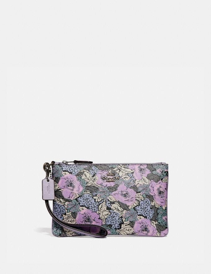 Coach Small Wristlet With Heritage Floral Print Pewter/Soft Lilac Multi Women Wallets & Wristlets