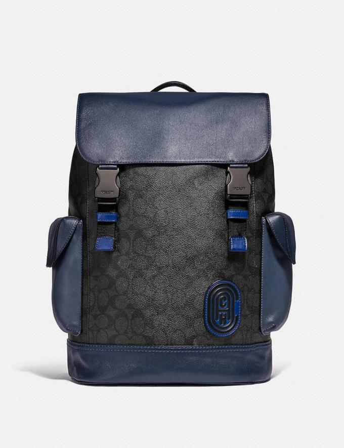 Coach Rivington Backpack in Signature Canvas With Coach Patch Black Copper/Charcoal Gifts For Him Bestsellers