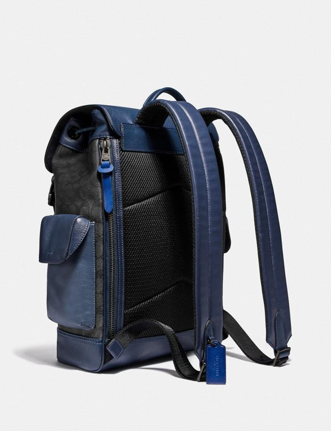 Coach Rivington Backpack in Signature Canvas With Coach Patch Black Copper/Charcoal Men Edits Work Alternate View 1