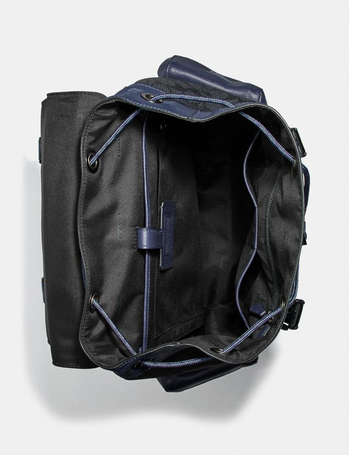 Coach Rivington Backpack in Signature Canvas With Coach Patch Black Copper/Charcoal Men Bags Backpacks Alternate View 3