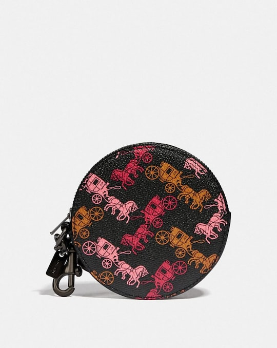 COIN CASE BAG CHARM WITH HORSE AND CARRIAGE PRINT