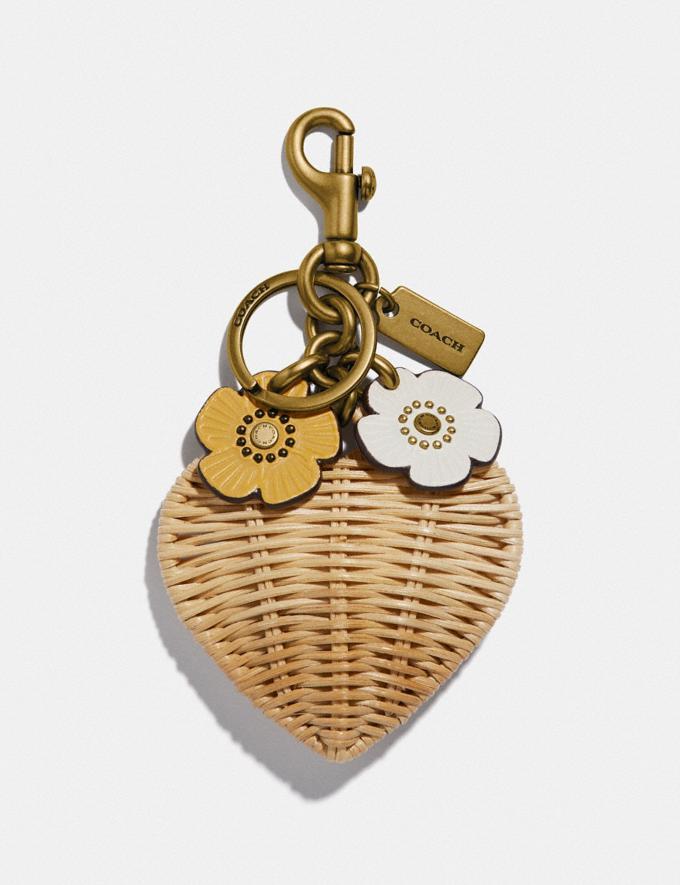 Coach Heart Bag Charm Brass/Straw Women Accessories Bag Charms & Key Rings