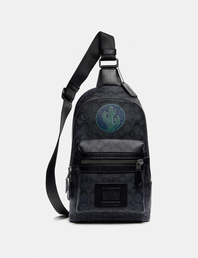 Coach Academy Pack in Signature Canvas by Robert Frank Hunter Charcoal Men Bags Backpacks