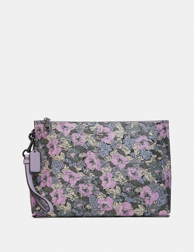 Coach Charlie Pouch With Heritage Floral Print Pewter/Soft Lilac Multi Women Wallets & Wristlets
