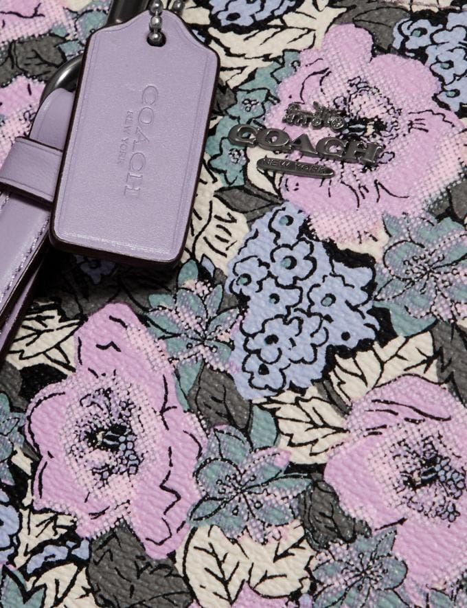Coach Charlie Pouch With Heritage Floral Print Pewter/Soft Lilac Multi Women Wallets & Wristlets Alternate View 3