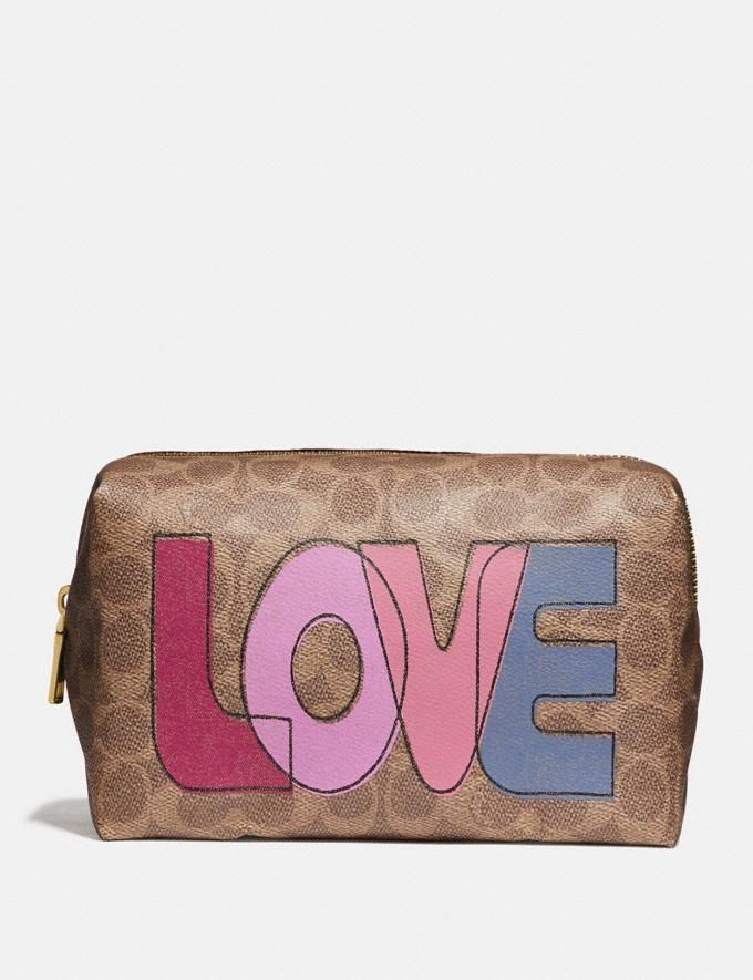 Coach Large Boxy Cosmetic Case in Signature Canvas With Love Print Brass/Tan Pink Multi Gifts For Her Under $100
