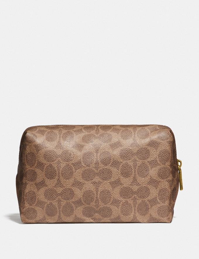 Coach Large Boxy Cosmetic Case in Signature Canvas With Love Print Brass/Tan Pink Multi Gifts For Her Under $100 Alternate View 1