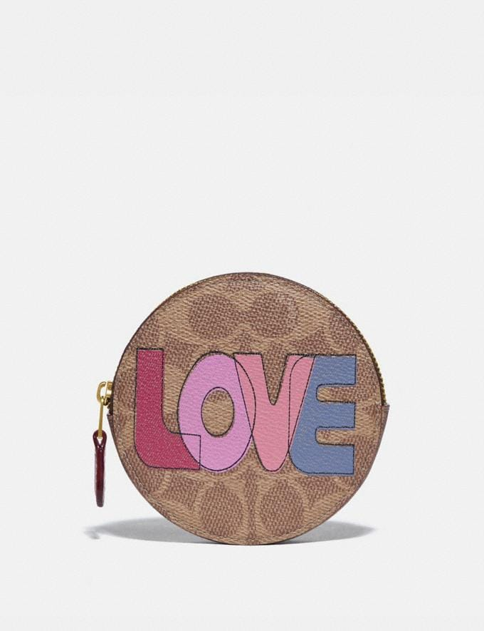 Coach Round Coin Case in Signature Canvas With Love Print Brass/Tan Pink Multi New Women's New Arrivals