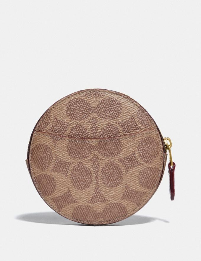 Coach Round Coin Case in Signature Canvas With Love Print Brass/Tan Pink Multi New Women's New Arrivals Alternate View 1