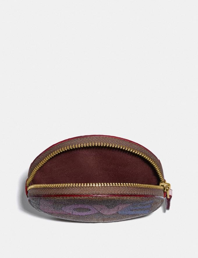 Coach Round Coin Case in Signature Canvas With Love Print Brass/Tan Pink Multi New Women's New Arrivals Alternate View 2