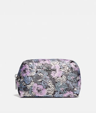 SMALL BOXY COSMETIC CASE WITH HERITAGE FLORAL PRINT
