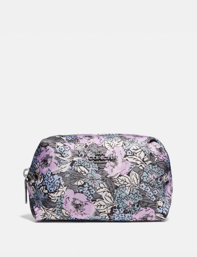 Coach Small Boxy Cosmetic Case With Heritage Floral Print Pewter/Soft Lilac Multi SALE Women's Sale New to Sale