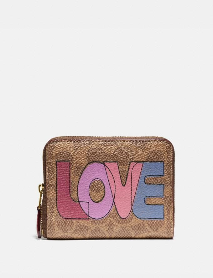 Coach Small Zip Around Wallet in Signature Canvas With Love Print Brass/Tan Pink Multi Women Wallets & Wristlets Small Wallets