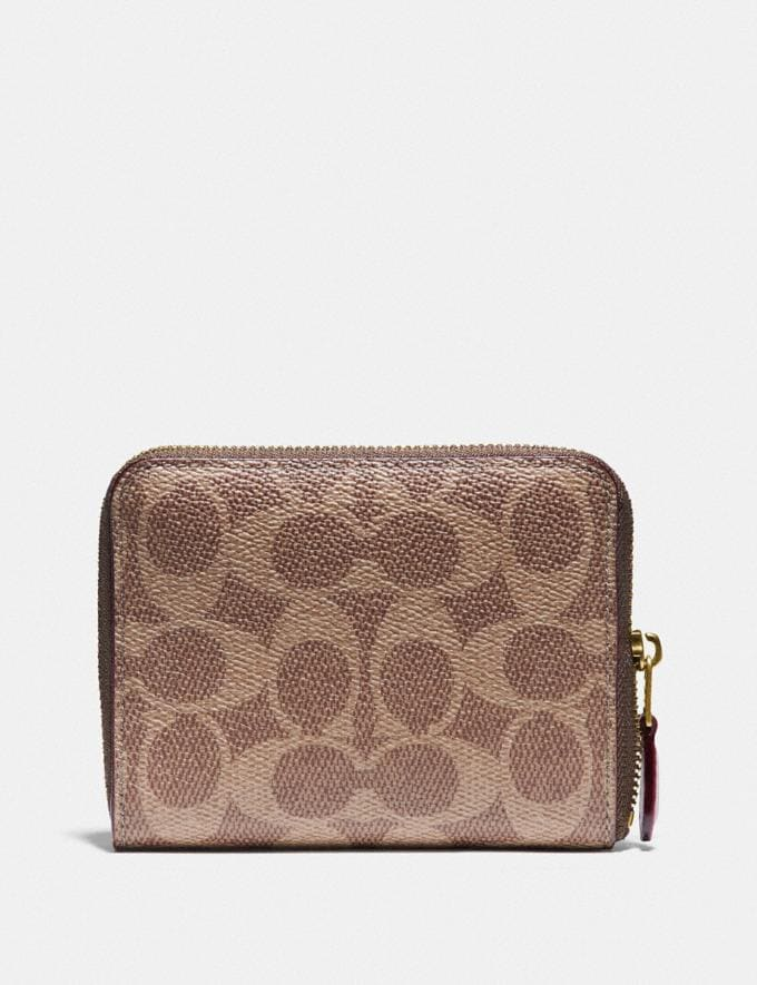 Coach Small Zip Around Wallet in Signature Canvas With Love Print Brass/Tan Pink Multi Women Wallets & Wristlets Small Wallets Alternate View 1