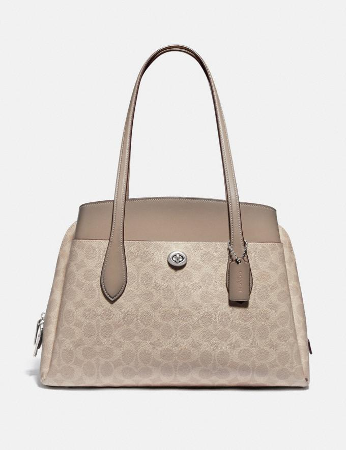 Coach Lora Carryall in Signature Canvas Light Nickel/Sand Taupe New Women's New Arrivals Bags