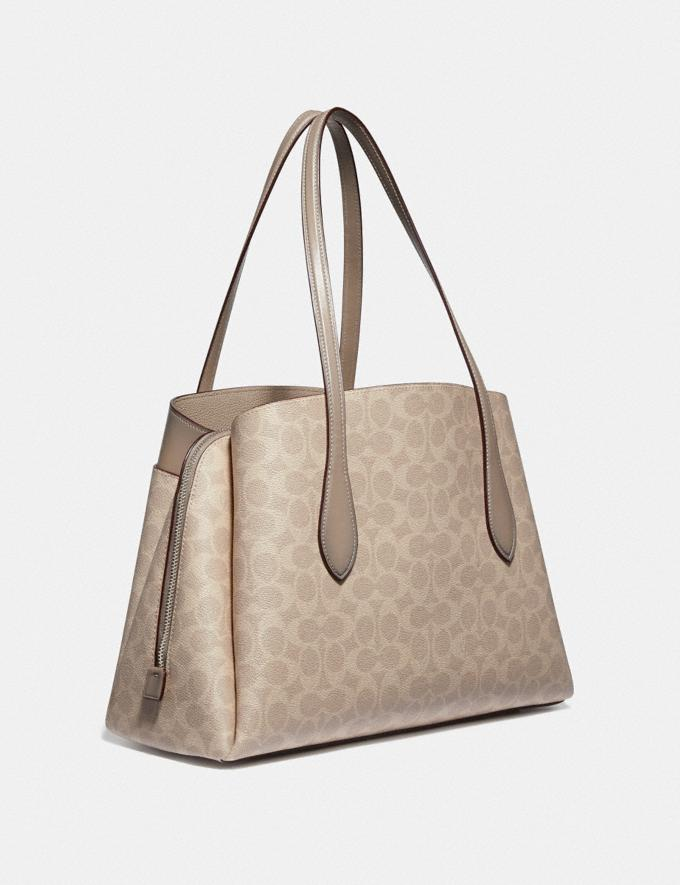 Coach Lora Carryall in Signature Canvas Light Nickel/Sand Taupe New Women's New Arrivals Bags Alternate View 1