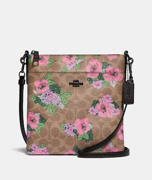 KITT MESSENGER CROSSBODY IN SIGNATURE CANVAS WITH BLOSSOM PRINT