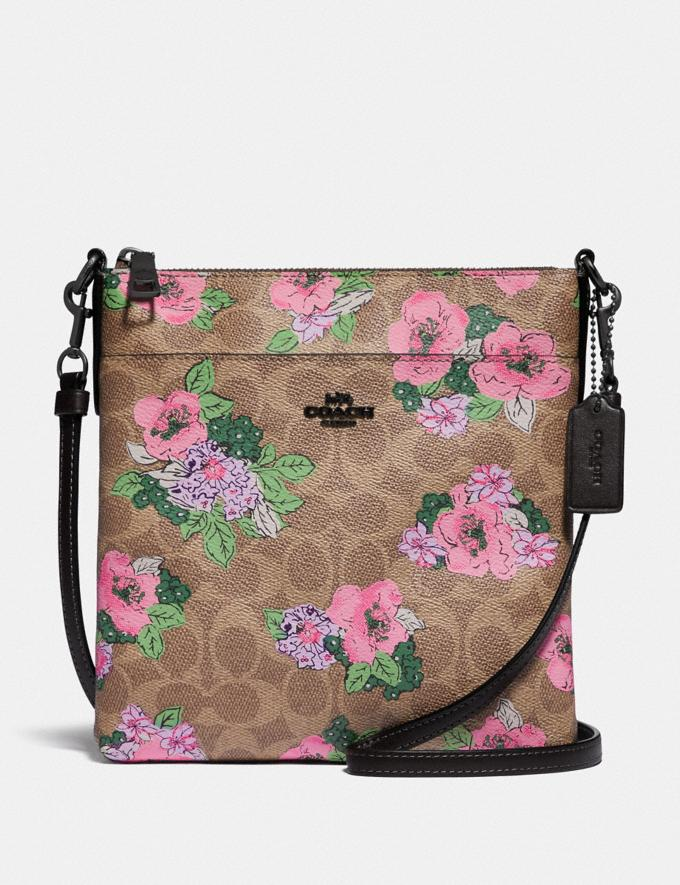 Coach Kitt Messenger Crossbody in Signature Canvas With Blossom Print Pewter/Tan Print Gifts For Her Under $300