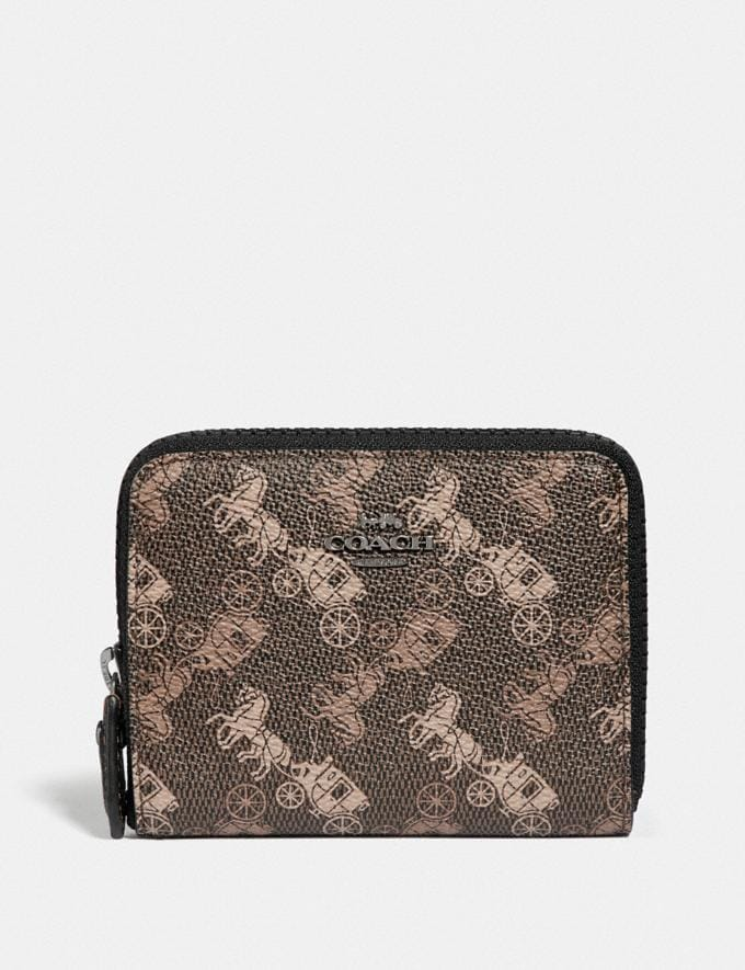 Coach Small Zip Around Wallet With Horse and Carriage Print Pewter/Brown Black Women Wallets & Wristlets Small Wallets