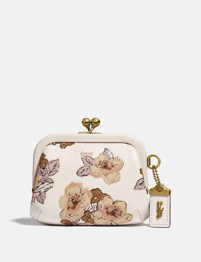 Coach Kisslock Coin Purse With Floral Bouquet Print Brass/Chalk Women Wallets & Wristlets Small Wallets