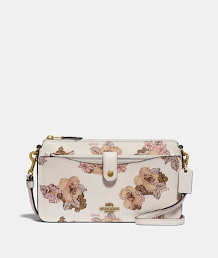 NOA POP-UP MESSENGER WITH FLORAL BOUQUET PRINT