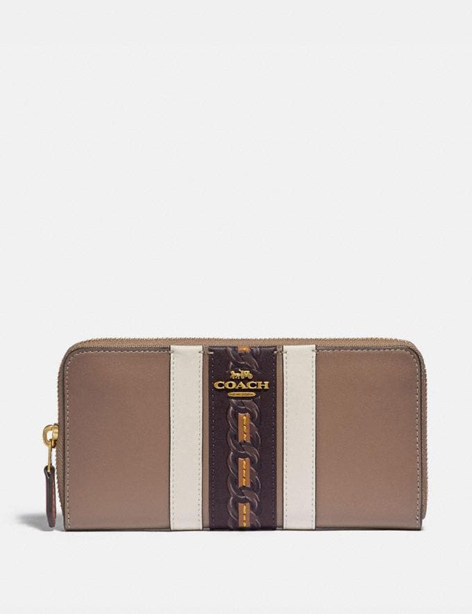 Coach Accordion Zip Wallet With Varsity Stripe Brass/Elm Multi Gifts For Her Bestsellers